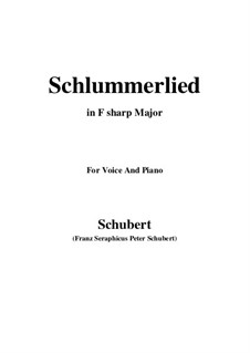 Le berceuse (Slumber Song), D.527 Op.24 No.2: For voice and piano (F sharp Major) by Franz Schubert