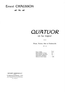 Piano Quartet in A Major, Op.30: Full score by Ernest Chausson