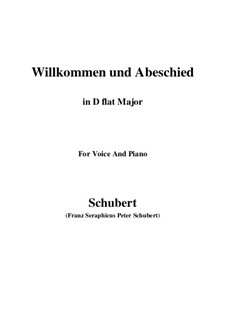 Willkommen und Abschied, D.767 Op.56 No.1: For voice and piano (D flat Major) by Franz Schubert