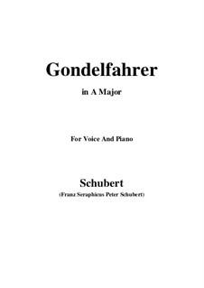 Gondelfahrer (The Gondolier), D.808: A Major by Franz Schubert