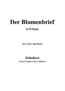 Der Blumenbrief (The Message of Flowers), D.622: For voice and piano (D Major) by Franz Schubert