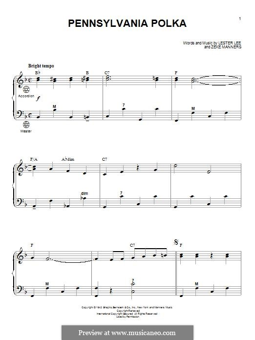 Pennsylvania Polka: For accordion by Lester Lee, Zeke Manners