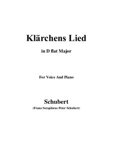 Die Liebe (Love), D.210: For voice and piano (D flat Major) by Franz Schubert