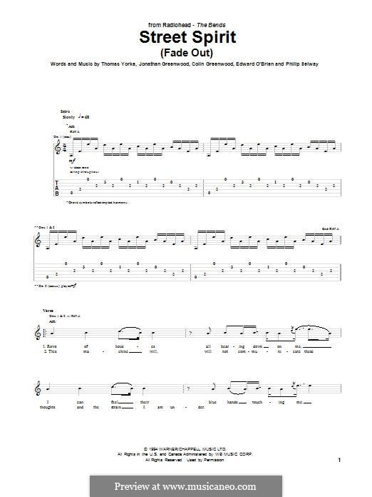 Street Spirit (Fade Out): For guitar with tab by Colin Greenwood, Ed O'Brien, Jonny Greenwood, Phil Selway, Thomas Yorke