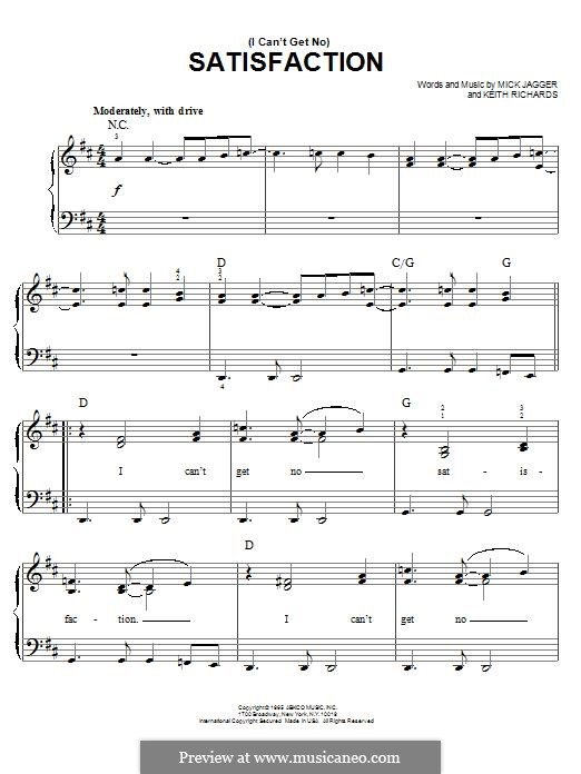 (I Can't Get No) Satisfaction (The Rolling Stones): For piano by Keith Richards, Mick Jagger