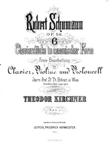 Studies in the Form of Canons, Op.56: For piano trio – cello part by Robert Schumann