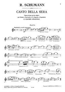 Canto della sera: Flute part by Robert Schumann