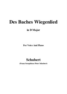 No.20 Des Baches Wiegenlied (The Brook's Lullaby): For voice and piano (D Major) by Franz Schubert