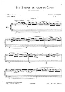 Studies in the Form of Canons, Op.56: For two pianos four hands – piano II part by Robert Schumann