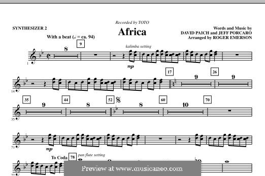 Africa (Toto): Synthesizer II part by David Paich, Jeff Porcaro