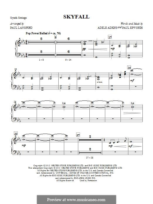 Arrangement by Paul Langford: Strings (Synth) part by Adele, Paul Epworth