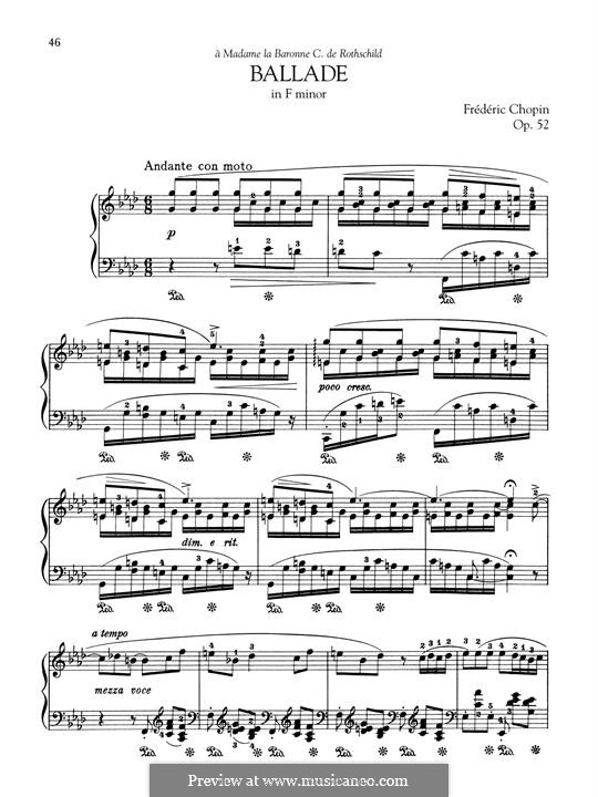 Ballade No.4 in F Minor, Op.52: For piano by Frédéric Chopin