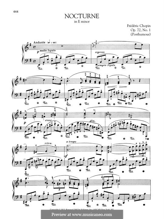 Nocturne in E Minor, Op. posth.72 No.1: For piano by Frédéric Chopin