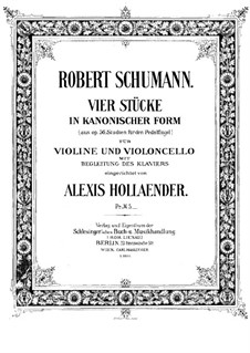 Studies in the Form of Canons, Op.56: No.6, 4, 2, 5, for piano trio by Robert Schumann