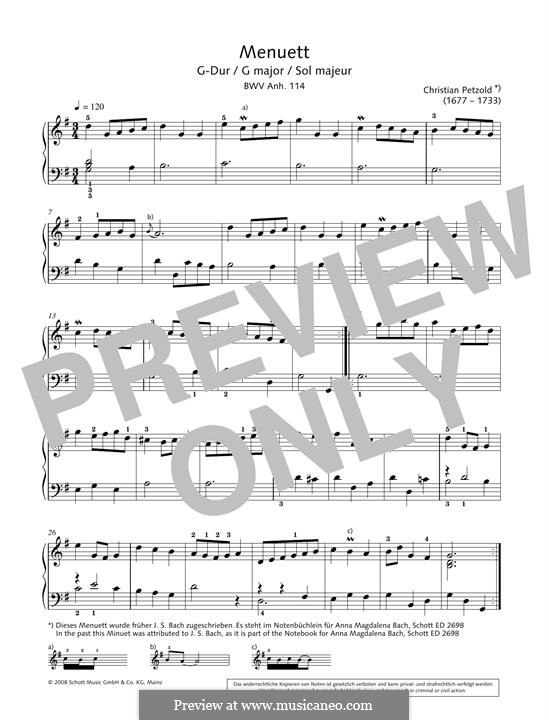 Minuet in G major from The notebook of Anna Magdalena Bach, BWV Anh. 114: For piano by Christian Petzold