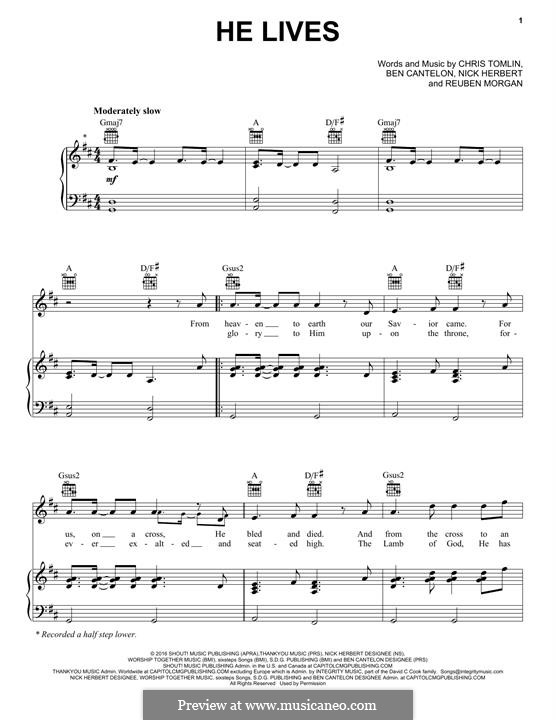He Lives: For voice and piano (or guitar) by Chris Tomlin, Reuben Morgan, Nick Herbert, Ben Cantelon
