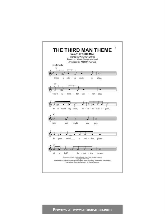 The Third Man (The Harry Lime Theme): Melody line by Anton Karas