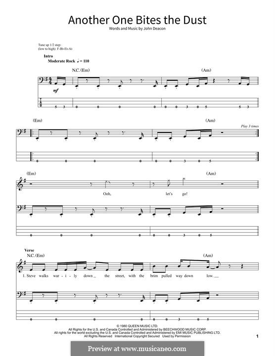 Another One Bites the Dust (Queen): For bass guitar with tab by John Deacon