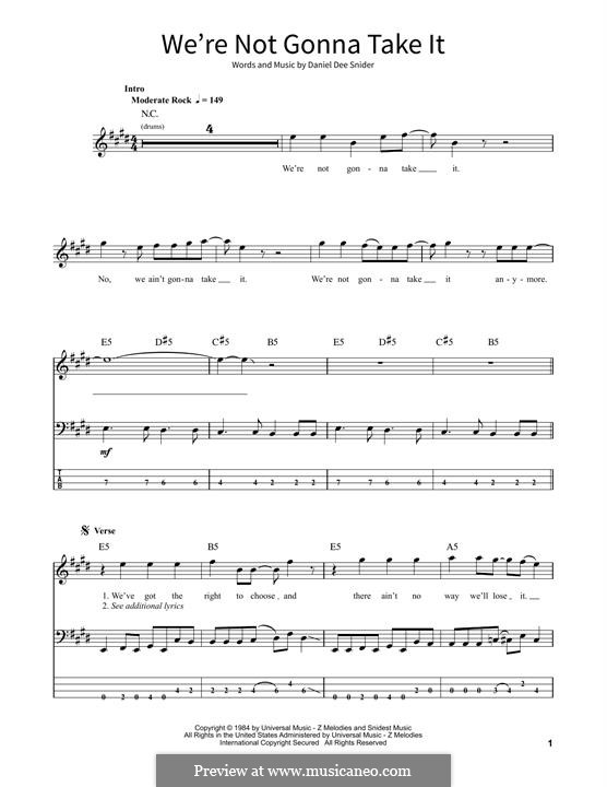 We're Not Gonna Take It (Twisted Sister): For bass guitar with tab by Daniel Dee Snider