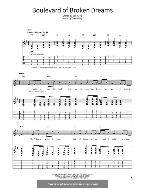 Boulevard of Broken Dreams (Green Day): For guitar with tab by Billie Joe Armstrong, Tré Cool, Michael Pritchard