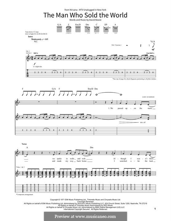 The Man Who Sold the World (Nirvana): For guitar with tab by David Bowie
