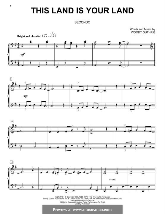 This Land Is Your Land (The New Christy Minstrels): For piano by Woody Guthrie