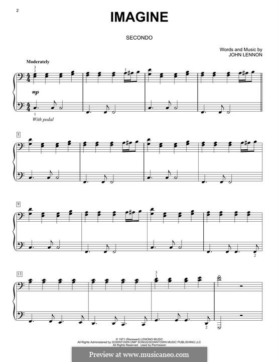 Imagine, for Piano: For four hands by John Lennon