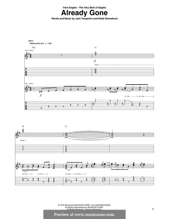 Already Gone (Eagles): For guitar with tab by Jack Tempchin, Robb Strandlund
