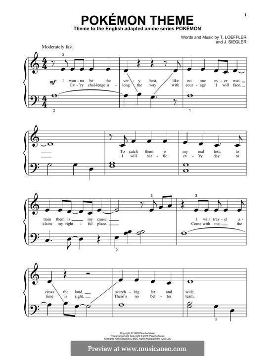 Pokemon Theme: For piano by J. Siegler, T. Loeffler