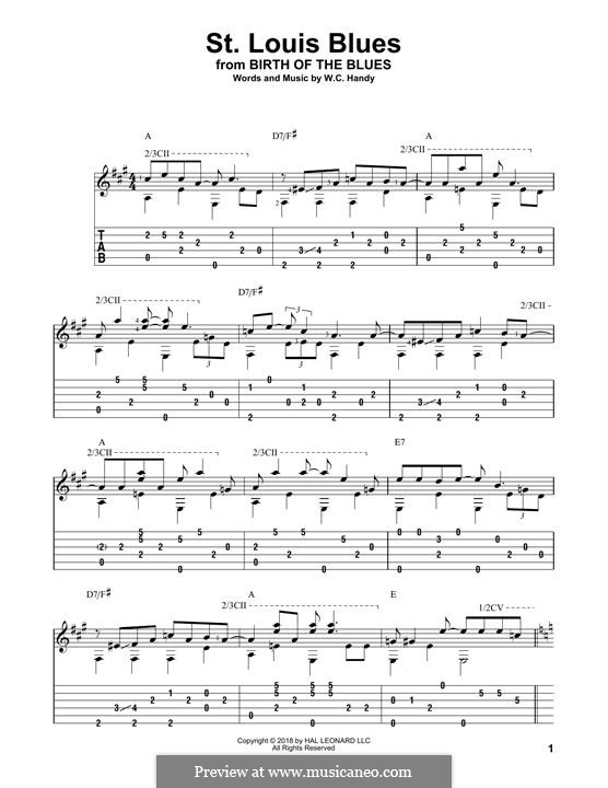 St. Louis Blues: For guitar by William Christopher Handy