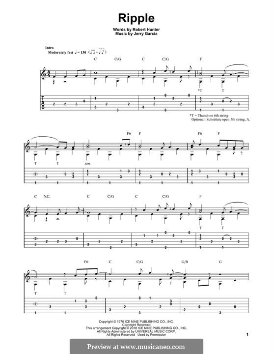Ripple (The Grateful Dead): For guitar with tab by Jerry Garcia, Robert Hunter