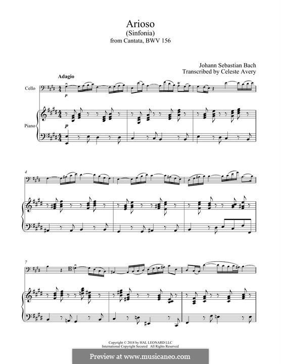 Arioso in G Major: For cello and piano by Johann Sebastian Bach