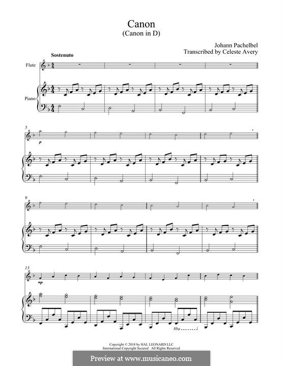 Canon in D Major (Printable): For flute and piano by Johann Pachelbel