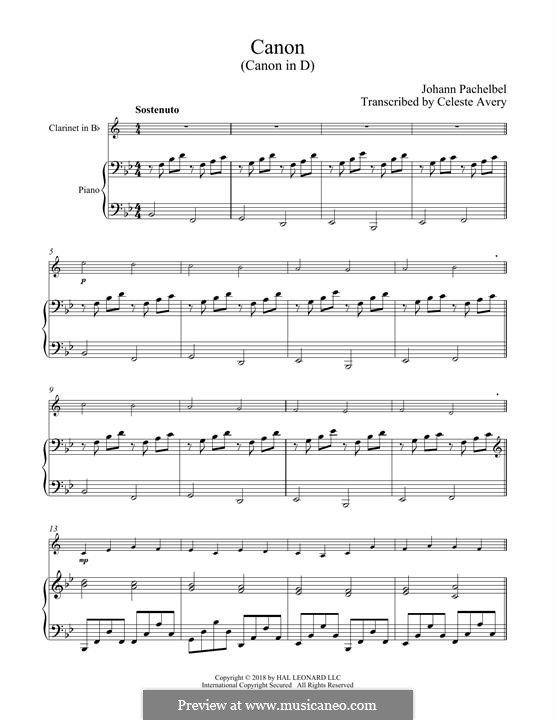 Canon in D Major (Printable): For clarinet and piano by Johann Pachelbel