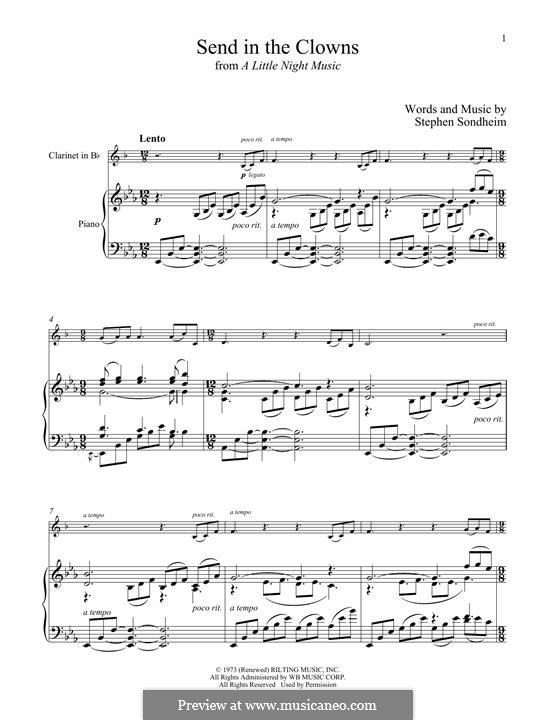Send in the Clowns (from A Little Night Music): For clarinet and piano by Stephen Sondheim