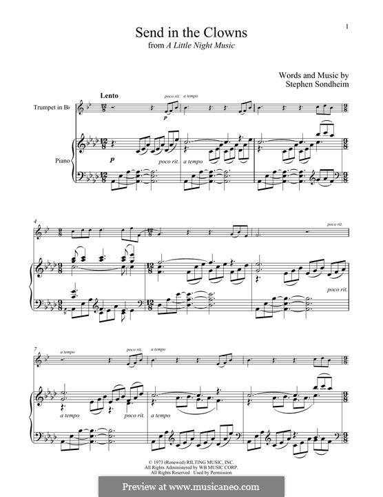 Send in the Clowns (from A Little Night Music): For trumpet and piano by Stephen Sondheim