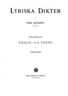 Lyriska dikter (Sju sånger ur Tannhäuser), Op.3: For violin and piano – score by Emil Sjögren