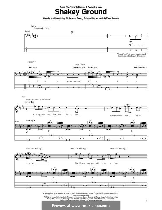 Shakey Ground: For bass guitar with tab by Elton John