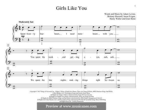 Girls Like You (Maroon 5): For piano by Adam Levine, Henry Russell Walter, Jason Evigan, Brittany Hazzard