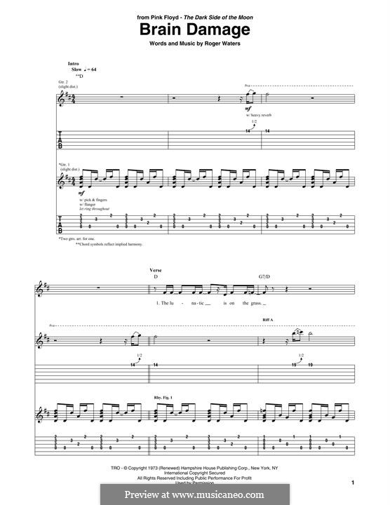 Brain Damage (Pink Floyd): For guitar with tab by Roger Waters