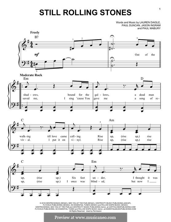 Still Rolling Stones (from Look Up Child): For piano by Jason David Ingram, Paul Mabury, Lauren Daigle, Paul Duncan