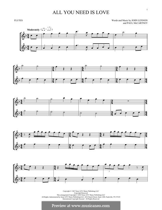 All You Need Is Love (The Beatles): For two flutes by John Lennon, Paul McCartney
