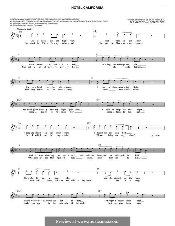 Hotel California (The Eagles): Melody line by Don Felder, Don Henley, Glen Frey
