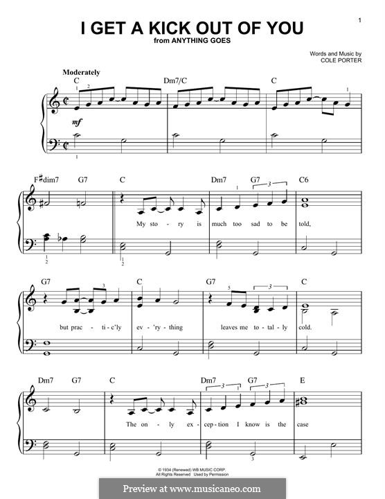 I Get a Kick Out of You (Frank Sinatra): For piano by Cole Porter