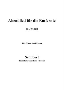 Abendlied für die Entfernte (Evening Song for the Distant Beloved), D.856 Op.88 No.1: For voice and piano (D Major) by Franz Schubert