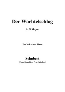 Der Wachtelschlag (Song of the Quail), D.742 Op.68: For voice and piano (G Major) by Franz Schubert