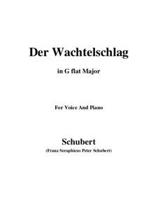 Der Wachtelschlag (Song of the Quail), D.742 Op.68: For voice and piano (G flat Major) by Franz Schubert