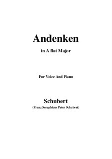 Andenken (Remembrance), D.99: For voice and piano (A flat Major) by Franz Schubert