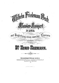 Concerto for Harpsichord and Orchestra in D Major, F 41: Version for two pianos four hands by Wilhelm Friedemann Bach