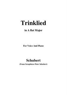 Trinklied (Drinking Song), D.183: A flat Major by Franz Schubert